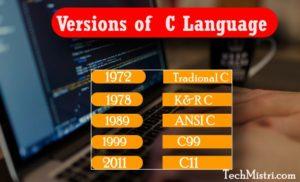 versions of c language in hindi
